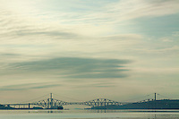 The Forth Road Bridge, the Forth Rail Bridge and the Firth of Forth from Blackness, Lothian