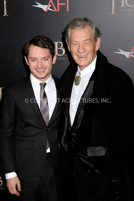 WWW.ACEPIXS.COM....December 6 2012, New York City....Elijah Wood and Ian McKellen at 'The Hobbit: An Unexpected Journey' premiere at the Ziegfeld Theater on December 6, 2012 in New York City.....By Line: Nancy Rivera/ACE Pictures......ACE Pictures, Inc...tel: 646 769 0430..Email: info@acepixs.com..www.acepixs.com