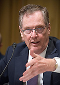 """Robert Lighthizer, United States Trade Representative, testifies before the US Senate Committee on Finance on """"The President's 2018 Trade Policy Agenda"""" on Capitol Hill in Washington, DC on Thursday, March 22, 2018.<br /> Credit: Ron Sachs / CNP"""