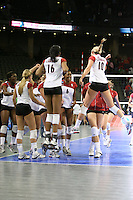 14 December 2006: Stanford Cardinal Kristin Richards, Nji Nnamani, Bryn Kehoe, Foluke Akinradewo, and Franci Girard during Stanford's 30-12, 30-25, 30-15 win against the Washington Huskies in the 2006 NCAA Division I Women's Volleyball Final Four semifinal match at the Qwest Center in Omaha, NE.