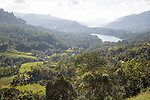 Landscape view of forested valley and lakes, Ramboda, near Nuwara Eliya, Central Province, Sri Lanka, Asia