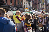 Orchard Street in the Lower East Side neighborhood of New York on the annual Pickle Day festival on Sunday, October 28, 2013.  The hip neighborhood is no longer your grandmother's Lower East Side. (© Richard B. Levine)