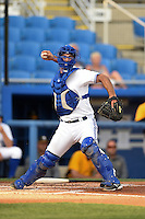 Dunedin Blue Jays catcher Jorge Saez (12) throws to first during a game against the Bradenton Marauders on April 14, 2015 at Florida Auto Exchange Stadium in Dunedin, Florida.  Bradenton defeated Dunedin 7-1.  (Mike Janes/Four Seam Images)