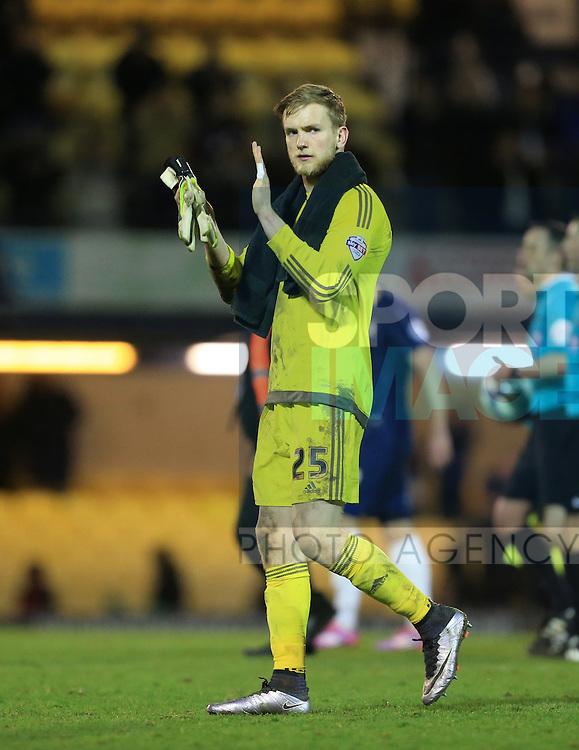 Sheffield United's George Long applauds the fans at the final whistle during the League One match at Roots Hall Stadium.  Photo credit should read: David Klein/Sportimage