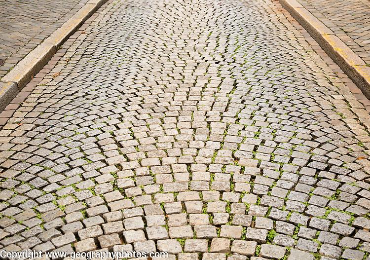 Cobbled street in Maastricht, Limburg province, Netherlands,