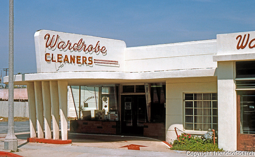 Los Angeles: Wardrobe Cleaners, 120 Catalina. Redondo Beach, 1950. Example of Streamline Moderne. Photo '85.