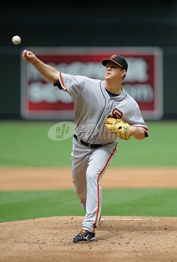 Apr. 8, 2012; Phoenix, AZ, USA; San Francisco Giants pitcher Matt Cain throws in the first inning against the Arizona Diamondbacks at Chase Field. Mandatory Credit: Mark J. Rebilas-