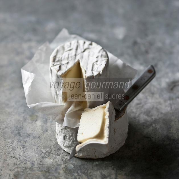 Europe/France/89/Bourgogne/Yonne: Le Chaource, fromage au lait de vache, à pâte molle et à croute fleurie - Stylisme : Valérie LHOMME