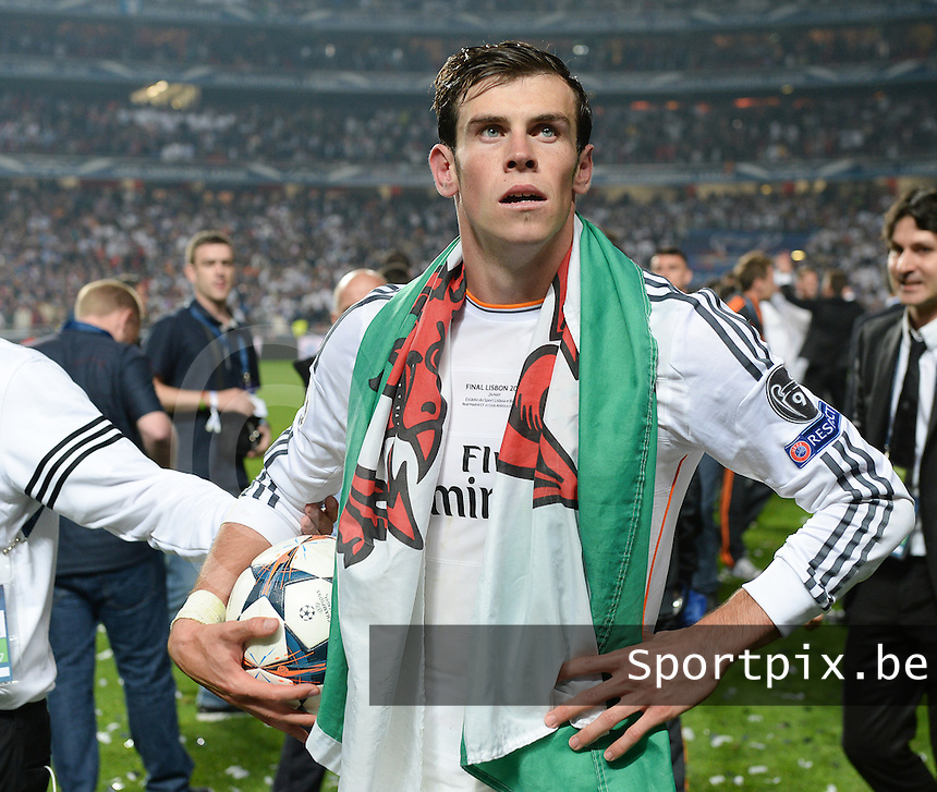 20140524 - LISBON , PORTUGAL : Real's Gareth Bale pictured during the soccer match between Real Madrid CF and Club Atletico de Madrid in the UEFA Champions League Final on Saturday 24 May 2014 in Estadio Da Luz in Lisbon .  PHOTO DAVID CATRY