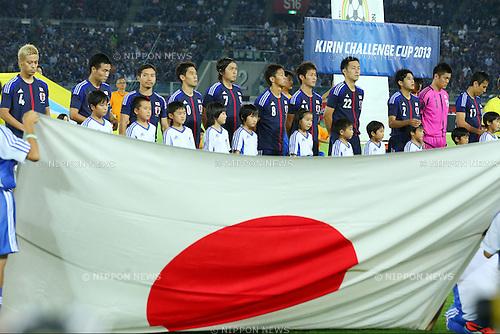 Japan team group line-up (JPN),<br /> SEPTEMBER 10, 2013 - Football / Soccer :<br /> Kirin Challenge Cup 2013 match between Japan 3-1 Ghana at Nissan Stadium in Kanagawa, Japan. (Photo by Kenzaburo Matsuoka/AFLO)