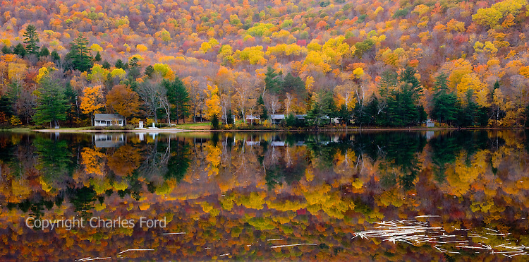 Fall foliage reflections at Lower Baker's Pond, New Hampshire.