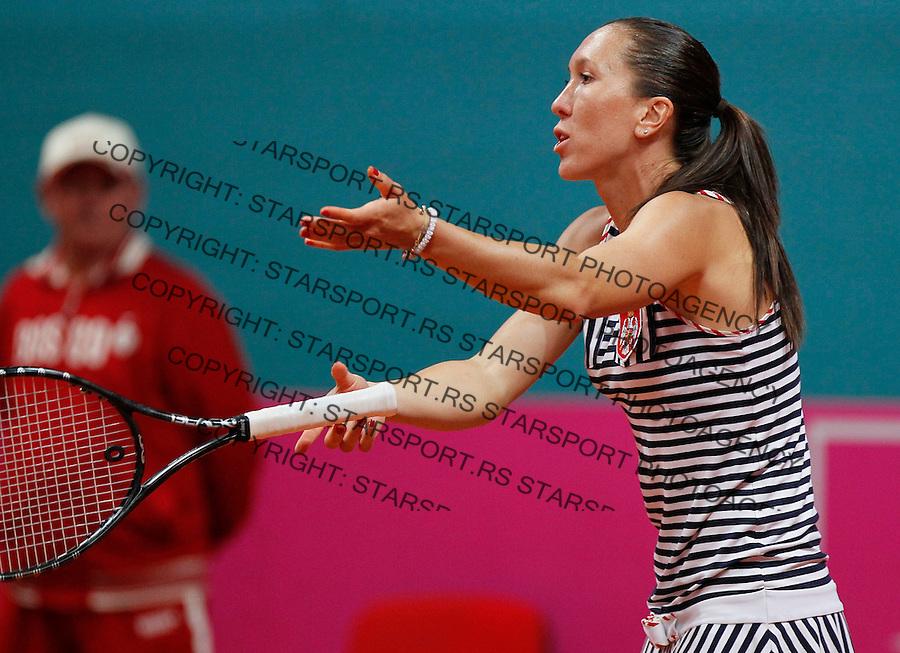 Tenis, Fed Cup 2011, play-off for .Slovakia Vs. Serbia.Jelena Jankovic Vs. Daniela Hantuchova.Jelena Jankovic, react.Bratislava, 17.04.2011..foto: Srdjan Stevanovic/Starsportphoto ©