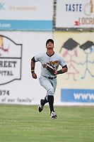 West Virginia Black Bears right fielder Sandy Santos (27) tracks a shallow fly ball during a game against the Batavia Muckdogs on June 25, 2017 at Dwyer Stadium in Batavia, New York.  Batavia defeated West Virginia 4-1 in nine innings of a scheduled seven inning game.  (Mike Janes/Four Seam Images)