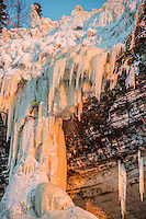 James Loveridge leads Dairyland, a classic ice climb at Pictured Rocks National Lakeshore near Munising, Michigan.