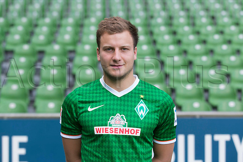 29.07.2013. Bremen, Germany.  The picture shows German Soccer Bundesliga club SV Werder Bremen's Philipp Bargfrede during the official photocall for the season 2013-14 in Bremen.