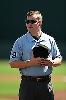 Umpire Sean Barber before a Baltimore Orioles Spring Training game against the Detroit Tigers on March 4, 2015 at Ed Smith Stadium in Sarasota, Florida.  Detroit defeated Baltimore 5-4.  (Mike Janes/Four Seam Images)