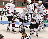 Adam Reid (NU - 8), Kevin Roy (NU - 15), Vinny Saponari (NU - 74), Colton Saucerman (NU - 23), Ludwig Karlsson (NU - 45) - The Northeastern University Huskies defeated the visiting Merrimack College Warriors 4-2 (EN) on Wednesday, October 10, 2012, at Matthews Arena in Boston, Massachusetts.