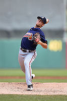 Blakely Brown (12) of Statesboro High School in Statesboro, Georgia playing for the Atlanta Braves scout team during the East Coast Pro Showcase on August 2, 2014 at NBT Bank Stadium in Syracuse, New York.  (Mike Janes/Four Seam Images)