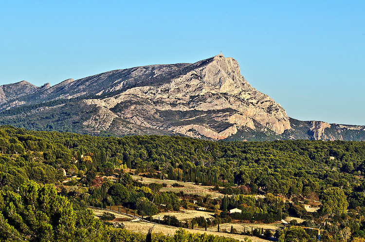"View of Mont Sainte-Victoire, as seen from the site now known as the ""Terrain des Peintres"" in Les Lauves, just north of Aix-en-Provence, France7. Cézanne created many of his paintings of the mountain at this site during his final years (1902-06)."