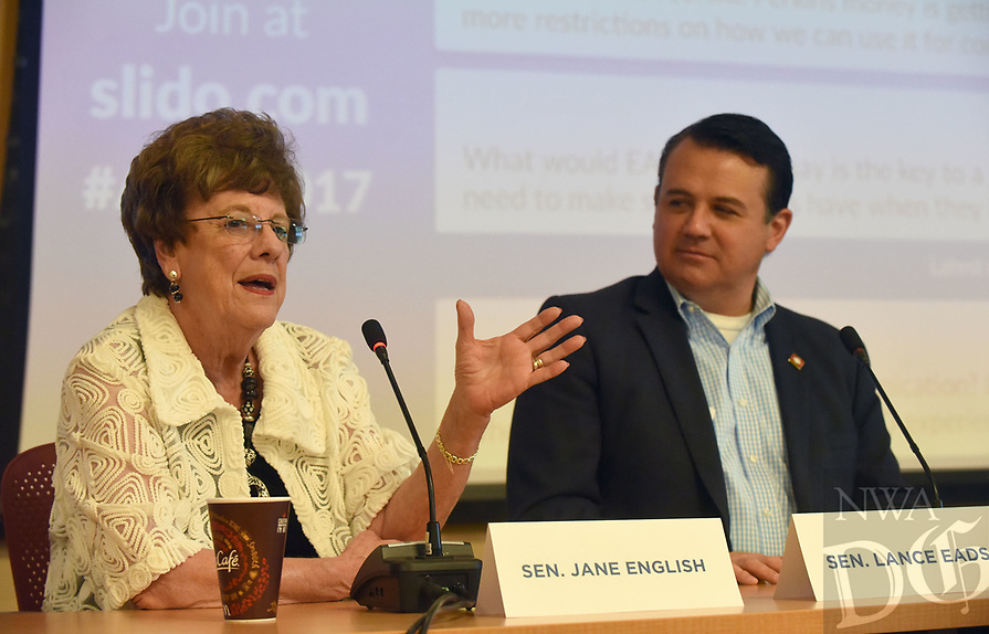 NWA Democrat-Gazette/FLIP PUTTHOFF <br /> State Sens. Jane English and Lance Eads take part Wednesday June 21 2017 in the panel discussion with educators.