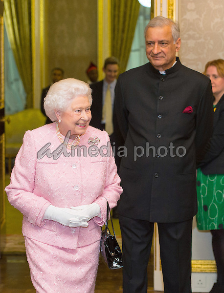 14 March 2016 - London, England - Queen Elizabeth II and the Commonwealth Secretary-General, Kamalesh Sharma at the annual Commonwealth Day reception at Marlborough House, London. Photo Credit: Alpha Press/AdMedia