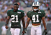 Morris Claiborne #21, left, and Buster Skrine #31 of the New York Jets walk to the sideline during the team's annual Green & White practice and scrimmage at MetLife Stadium in East Rutherford, NJ on Saturday, Aug. 5, 2017.
