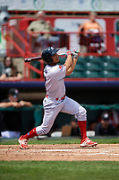Reading Fightin Phils right fielder Jiandido Tromp (7) follows through on a swing during a game against the Erie SeaWolves on May 18, 2017 at UPMC Park in Erie, Pennsylvania.  Reading defeated Erie 8-3.  (Mike Janes/Four Seam Images)