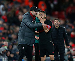 Jurgen Klopp manager of Liverpool exchanges words with Koke of Atletico Madrid during the UEFA Champions League match at Anfield, Liverpool. Picture date: 11th March 2020. Picture credit should read: Darren Staples/Sportimage
