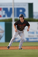 Tyler O'Neill (4) of the Bakersfield Blaze leads off of second base during a game against the Lancaster JetHawks at The Hanger on August 5, 2015 in Lancaster, California. Bakersfield defeated Lancaster, 12-5. (Larry Goren/Four Seam Images)