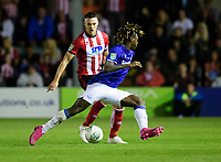 Lincoln City's Jason Shackell vies for possession with Everton's Moise Kean<br /> <br /> Photographer Chris Vaughan/CameraSport<br /> <br /> The Carabao Cup Second Round - Lincoln City v Everton - Wednesday 28th August 2019 - Sincil Bank - Lincoln<br />  <br /> World Copyright © 2019 CameraSport. All rights reserved. 43 Linden Ave. Countesthorpe. Leicester. England. LE8 5PG - Tel: +44 (0) 116 277 4147 - admin@camerasport.com - www.camerasport.com