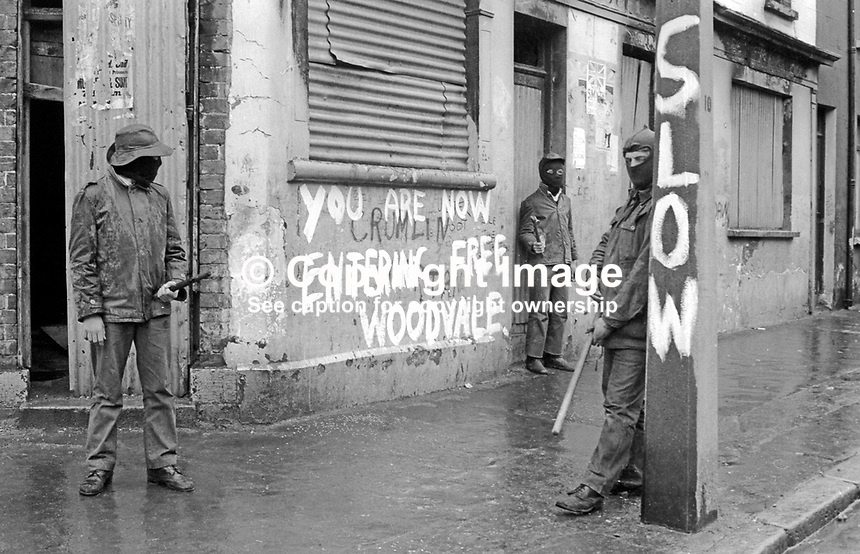 UDA members on duty in the Woodvale area of Belfast, N Ireland during the United Unionist Action Committee, UUAC, strike which lasted from 3rd to 13th May 1977. 197705090157k<br /> <br /> Copyright Image from Victor Patterson, 54 Dorchester Park, Belfast, UK, BT9 6RJ<br /> <br /> Tel: +44 28 9066 1296<br /> Mob: +44 7802 353836<br /> Voicemail +44 20 8816 7153<br /> Email: victorpatterson@me.com<br /> Email: victorpatterson@gmail.com<br /> <br /> IMPORTANT: My Terms and Conditions of Business are at www.victorpatterson.com