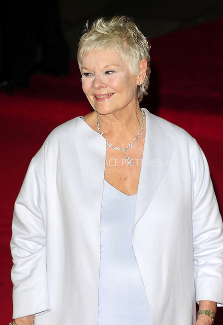 WWW.ACEPIXS.COM....US Sales Only....October 23 2012, London....Judi Dench at the World premiere of 'Skyfall' held at the Royal Albert Hall on October 23 2012 in London....By Line: Famous/ACE Pictures......ACE Pictures, Inc...tel: 646 769 0430..Email: info@acepixs.com..www.acepixs.com