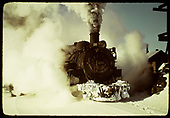 D&amp;RGW #480 in cloud of steam near the Chama coaling tower.<br /> D&amp;RGW  Chama, NM  Taken by Gildersleeve, Thomas H.