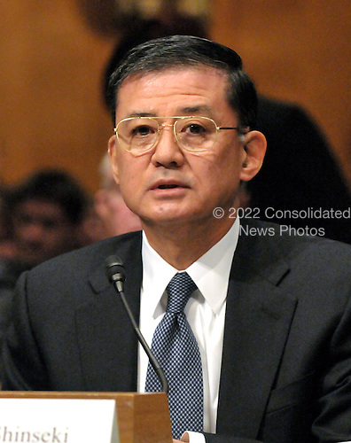 Washington, DC - January 14, 2009 -- General Eric Shinseki testifies at the United States Senate Veterans? Affairs Committee on his nomination to be Secretary of Veterans Affairs in Washington, D.C. on Wednesday, January 14, 2009..Credit: Ron Sachs / CNP
