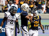 Bryce Treggs of California celebrates after scoring a touchdown during the game against Nevada at Memorial Stadium in Berkeley, California on September 1st, 2012.  Nevada Wolf Pack defeated California, 31-24.