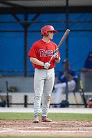 Philadelphia Phillies catcher Henri Lartigue (22) at bat during an Instructional League game against the Toronto Blue Jays on October 7, 2017 at the Englebert Complex in Dunedin, Florida.  (Mike Janes/Four Seam Images)
