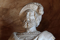 Bust of King Francois I in marble, 1835, by Valois Achille Joseph Etienne, 1785-1862, in the Galerie Francois I, begun 1528, the first great gallery in France and the origination of the Renaissance style in France, Chateau de Fontainebleau, France. The Palace of Fontainebleau is one of the largest French royal palaces and was begun in the early 16th century for Francois I. It was listed as a UNESCO World Heritage Site in 1981. Picture by Manuel Cohen