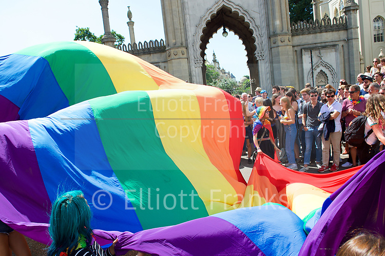 Brighton Pride 2017 <br /> Brighton Seafront and through the town towards Preston Park. <br /> East Sussex, Great Britain <br /> 5th August 2017 <br /> <br /> Brighton Pride <br /> <br /> <br /> Photograph by Elliott Franks <br /> Image licensed to Elliott Franks Photography Services