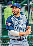 22 June 2017: Brooklyn Cyclones outfielder Jeremy Wolf warms up prior to a game against the Vermont Lake Monsters at Centennial Field in Burlington, Vermont. The Cyclones defeated the Lake Monsters 5-3 in NY Penn League action. Mandatory Credit: Ed Wolfstein Photo *** RAW (NEF) Image File Available ***