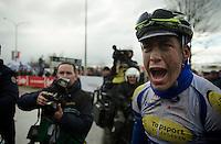 an extremely happy race winner Jelle Wallays (BEL/Topsport Vlaanderen-Baloise) after finishing<br /> <br /> 70th Dwars Door Vlaanderen 2015