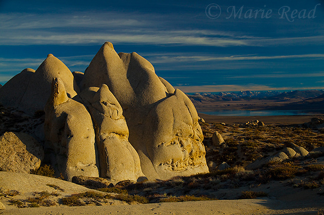 Rock formations at Rattlesnake Gulch, looking south toward Mono Lake, California, USA