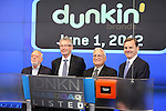 Harold Prince & Nigel Travis & John Costello & Bruce Aust joins Dunkin Donuts to celebrate 'National Donut Day' as well as unveiling their new Electronic Billboard in Times Square, New York on 6/1/2012© Walter McBride .