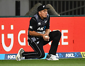 8th February 2019, Eden Park, Auckland, New Zealand;  Tim Southee takes a catch to dismiss Sharma.<br />