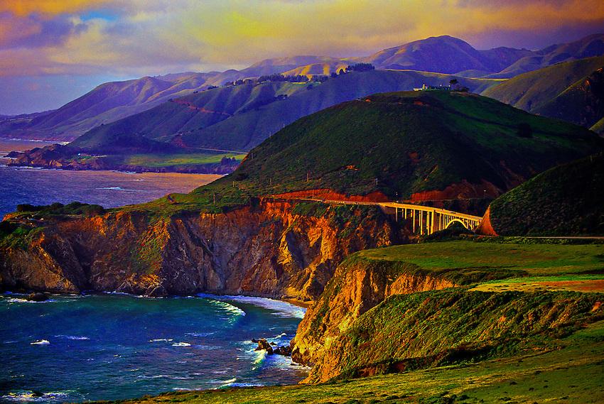 Looking north to the Bixby Bridge (714 feet high), Highway One, near Big Sur, California USA