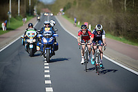 race leaders Ben Hermans (BEL/BMC) & David Tanner (AUS/IAM) try to stay ahead of the peloton with more than 25km to go<br /> <br /> 55th Brabantse Pijl 2015