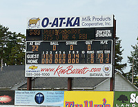 Scoreboard after Mahoning Valley Scrappers pitchers Luis Gomez (34), Carlos Melo (30), and Kerry Doane (22) combined to throw a no-hitter against the Batavia Muckdogs on September 1, 2013 at Dwyer Stadium in Batavia, New York.  Mahoning Valley defeated Batavia 6-0.  (Mike Janes/Four Seam Images)