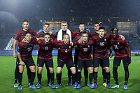 CARY, NC - DECEMBER 13: Stanford University's Starting XI, Andrew Thomas #1, Tanner Beason #3, Derek Waldeck #4, Keegan Hughes #5, Jared Gilbey #8, Charlie Wehan #10, Ousseni Bouda #11, Zach Ryan #14, Cam Cilley #16, Keegan Tingey #21, and Logan Panchot #22, pose for a photo during a game between Stanford and Georgetown at Sahlen's Stadium at WakeMed Soccer Park on December 13, 2019 in Cary, North Carolina.