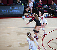 STANFORD, CA - December 1, 2018: Morgan Hentz, Kate Formico, Meghan McClure at Maples Pavilion. The Stanford Cardinal defeated Loyola Marymount 25-20, 25-15, 25-17 in the second round of the NCAA tournament.