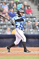 Richmond Flying Squirrels left fielder Tyler Horan (31) swings at a pitch during a game against the Hartford Yard Goats at The Diamond on April 30, 2016 in Richmond, Virginia. The Yard Goats defeated the Flying Squirrels 5-1. (Tony Farlow/Four Seam Images)