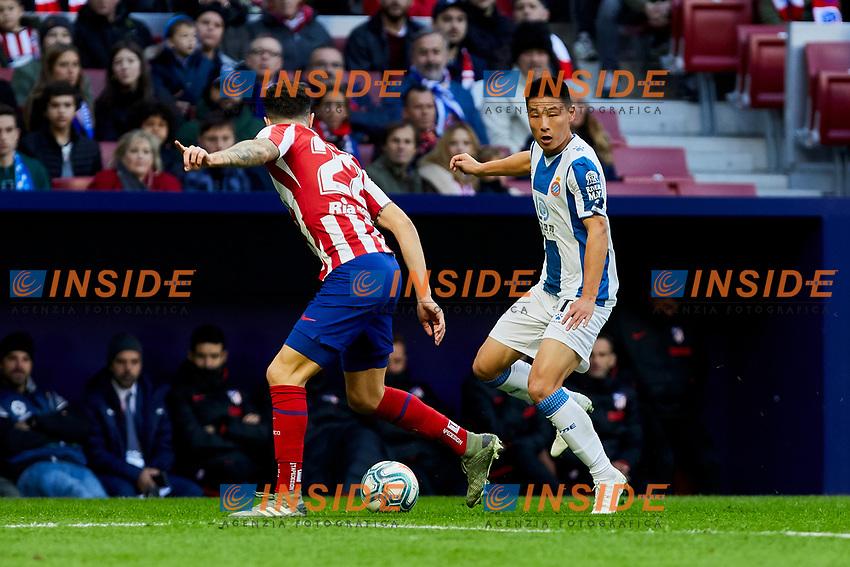 Mario Hermoso of Atletico de Madrid and Wu Lei of RCD Espanyol during La Liga match between Atletico de Madrid and RCD Espanyol at Wanda Metropolitano Stadium in Madrid, Spain. November 10, 2019. (ALTERPHOTOS/A. Perez Meca)<br /> Liga Spagna 2019/2020 <br /> Atletico Madrid - Espanyol <br /> Photo Alterphotos / Insidefoto <br /> ITALY ONLY